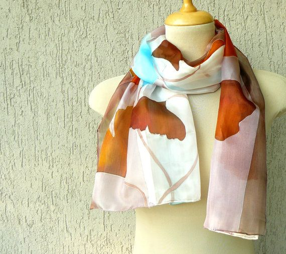 Hand painted silk scarf with autumn ginkgo leaves