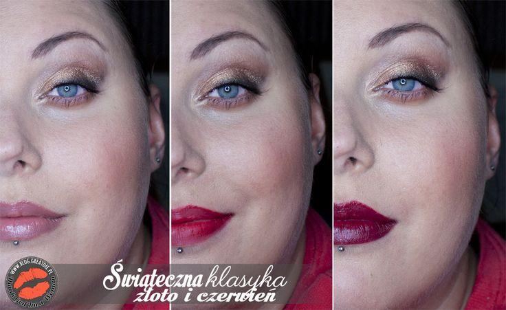 Make-up: Świąteczna klasyka - złoto i czerwień