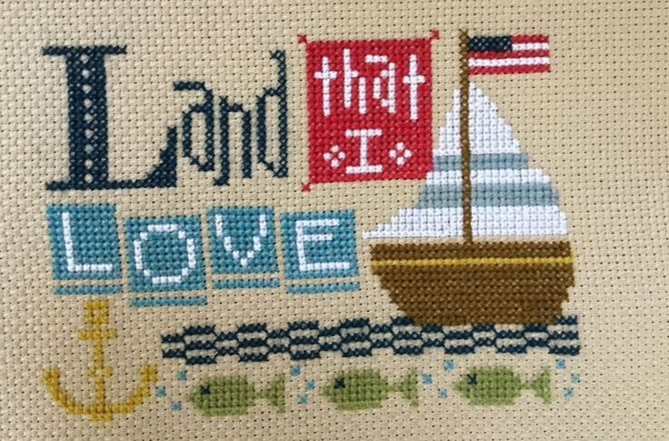 Completed Cross Stitch Lizzie Kate 4th of July Land That I Love Boat Fish | eBay