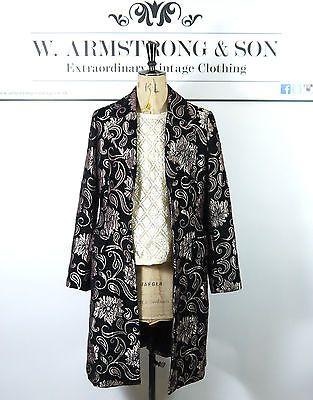 Womens-black-gold-floral-opulent-brode-Brocade-vintage-manteau-cintre-M