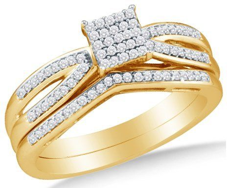 10k Yellow OR White Gold Ladies Womens Diamond Micro Pave Bridal Engagement Ring W/ Matching Wedding Band Set (1/4 cttw.) Sonia Jewels. $539.00. *** FREE Standard Shipping ***. .25 Total Diamond Carat Weight. Pure, Real & Natural Diamonds - GUARANTEED. 10K Gold GUARANTEED, Authenticated with a 10K Stamp. *** FREE Velvet Ring Box ***