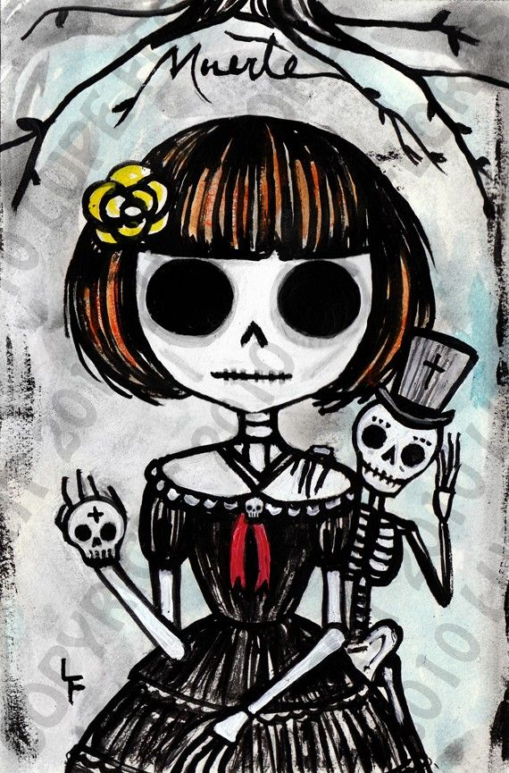 Death and I Guardian Death 5x7 art print. Day of the dead sugar skull painting. Art By Lupe Flores