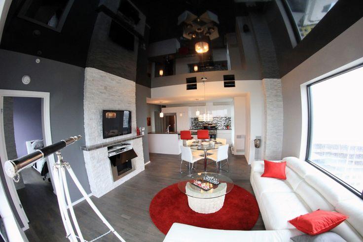 Our portfolio - TENDLight stretch ceiling Plafond Tendu Tendlight - noir lustré dans un condo de montréal