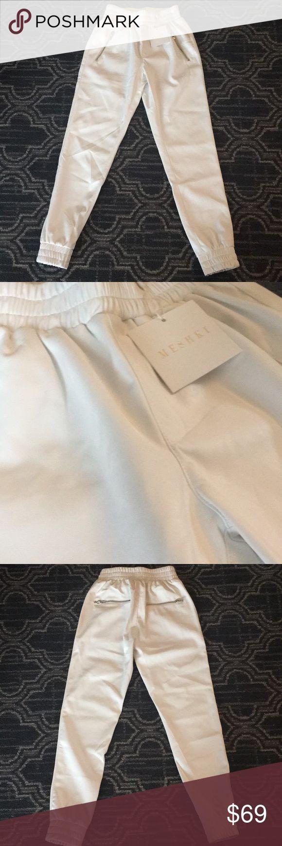Faux Leather Joggers XS - MESHKI BOUTIQUE FAUX LEATHER JOGGERS/ WHITE BRAND NEW/ TAG STILL ON MESHKI Pants Track Pants & Joggers