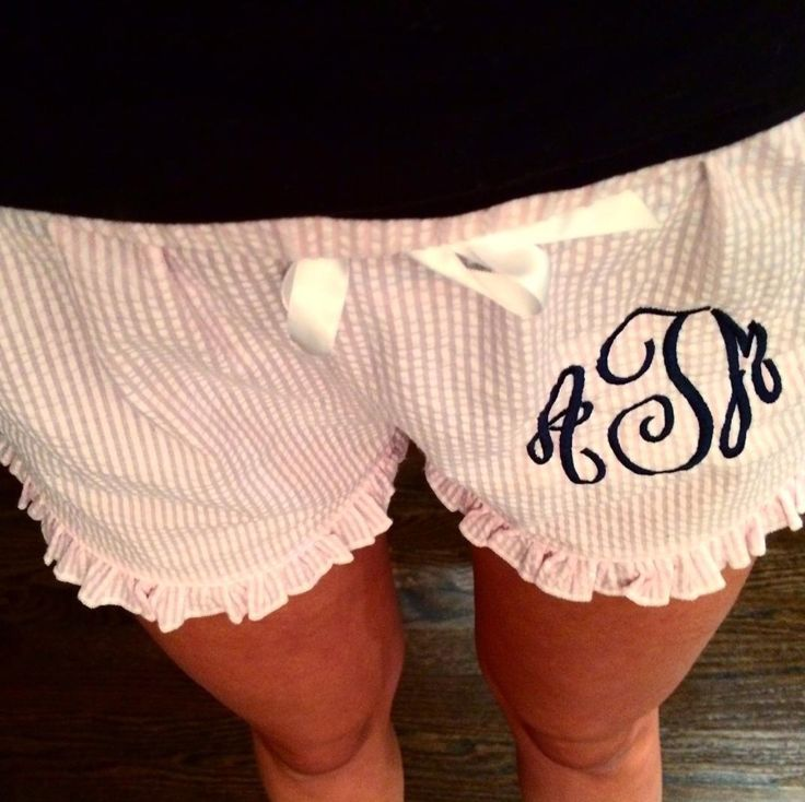 Monogrammed Shorts-Seersucker Ruffled Lounge Shorts-Womens Pink Lounge Shorts-Sleep Shorts-Brides-Bridal Party-Sorority Shorts-Graduation- by SweetTsFancies on Etsy https://www.etsy.com/listing/234760431/monogrammed-shorts-seersucker-ruffled