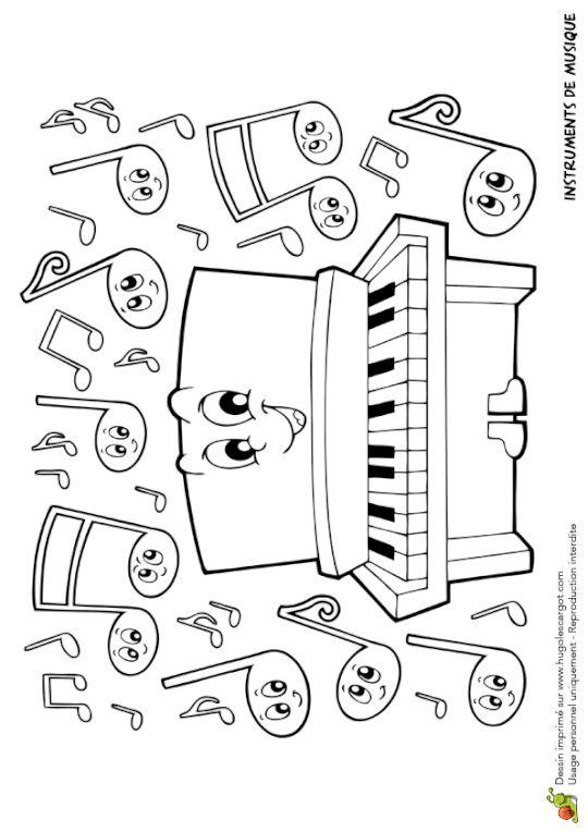 Coloriage Instrument de musique, le piano   Coloriage ...