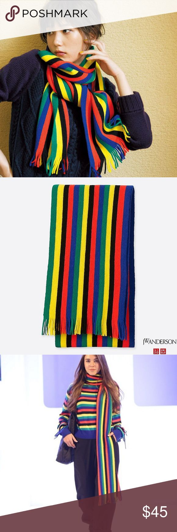 Multicolor Striped Wool Blend Scarf Unisex Condition: Brand new with tags. Sold Out.  Features:  * JW Anderson x Uniqlo collboration * One of the most coveted item form the collection * Vibrant colors * Wool, Acrylic, Nylon blend * 10.6inch x 74.8inch + 2inch x 2 J.W. Anderson Accessories Scarves & Wraps