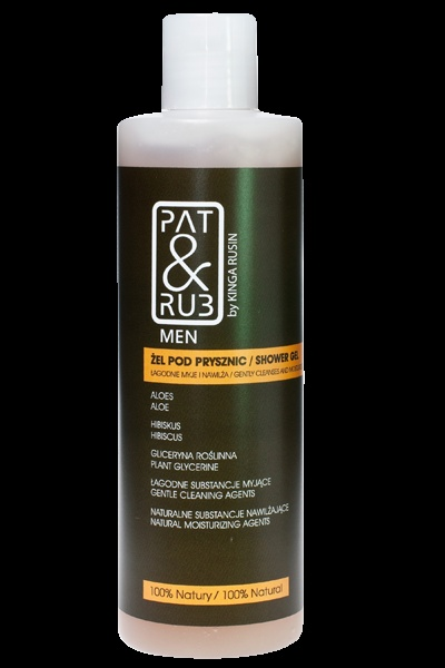 Washing Gel PAT & RUB Men. Refreshes senses, purifies and perfectly moisturizes the skin. Contains organic herbal complex. 100% eco-certified ingredients.