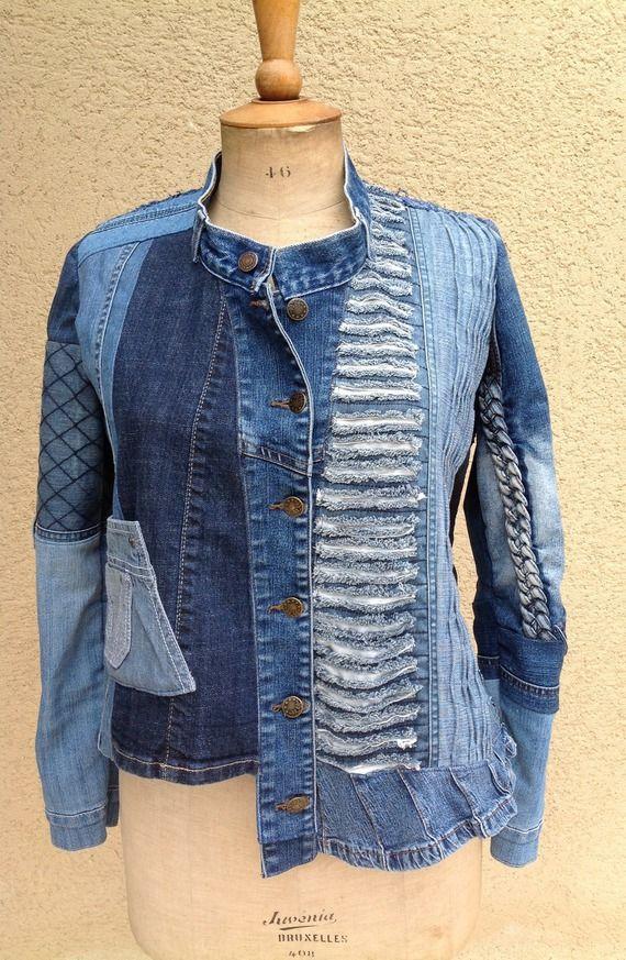 Veste créateur en jeans recyclé, patchwork jeans. Modèle unique.