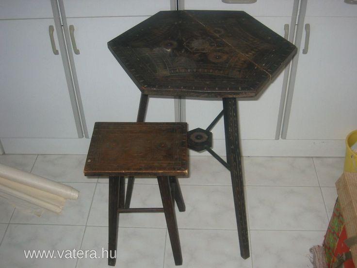 Régi Kalotaszegi karcolt antik Erdélyi asztal+ szék 2DB régiség Bútor néprajz