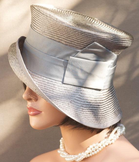Womens Gray Straw Cloche Wedding Hat Church Hat by AwardDesign, $88.00