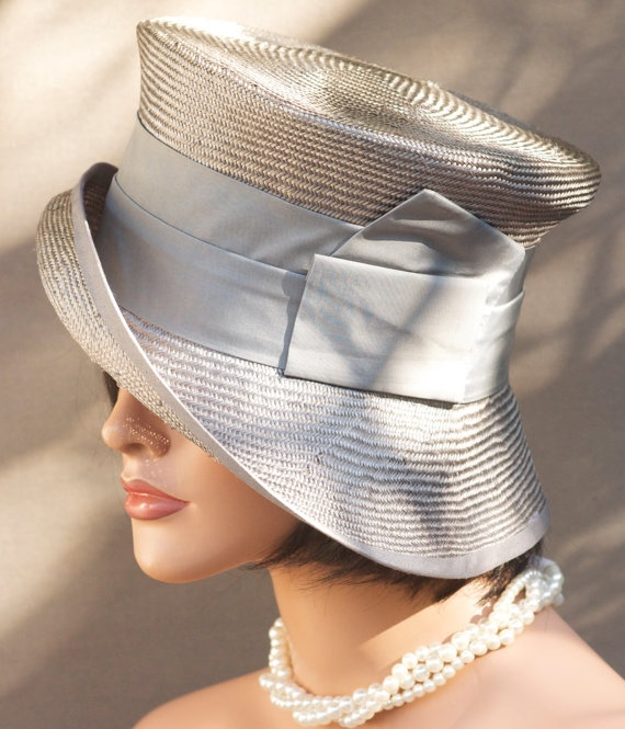 Womens Gray Straw Cloche Wedding Hat Church Hat by AwardDesign, $88.00