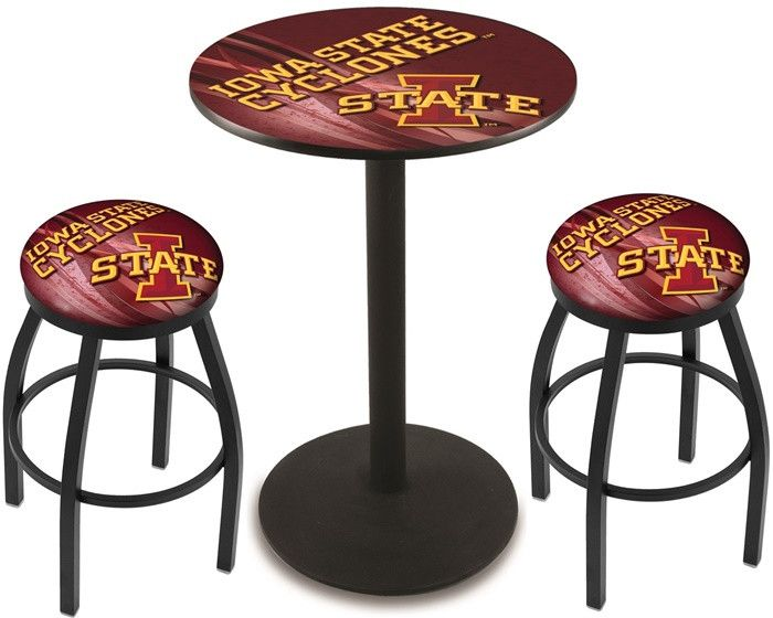 Iowa State Cyclones D2 Black Pub Table Set. Available in two table widths.  Visit SportsFansPlus.com for Details.
