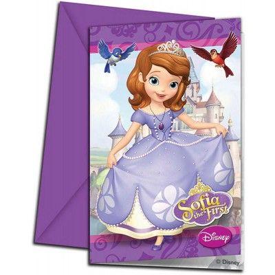Sofia het prinsesje uitnodigingen. Schrijf een leuke uitnodigingstekst op de achterkant van de kaartjes en doe ze op de bus. De kaartjes worden per 6 stuks verkocht. http://www.feestwinkel.nl/sofia-prinses-uitnodiging-6-stuks.html