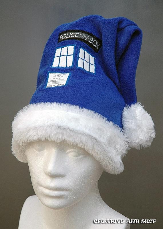 Dr Who's Tardis Christmas Hat ... via this Etsy Store ... CREATIVE ART SHOP - Handmade Hats, Cosplay & Home Decor.