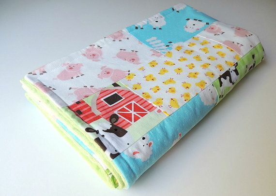 Hey, I found this really awesome Etsy listing at https://www.etsy.com/listing/163825522/farm-animal-baby-blanket-baby-quilt