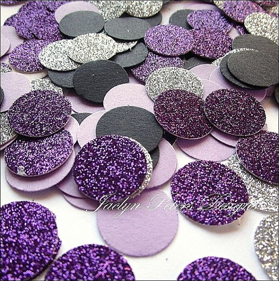 Party Confetti Black Purple And Silver by JaclynPetersDesigns