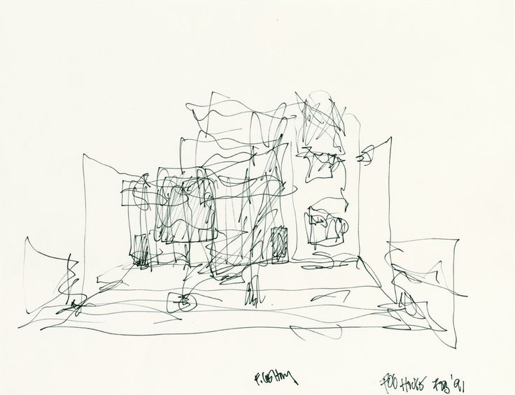 Frank Gehry's sketch of Gehry Residence, Santa Monica, California, 1991    Principles of Design in use: Proportion, Dominance, Contrast, Movement