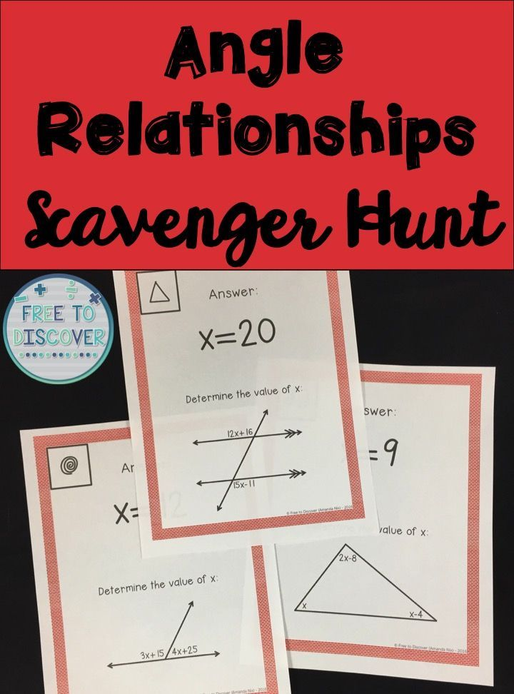 Get students out of their seats and writing equations to solve for missing angle measures with this interactive angle relationships scavenger hunt. Students will practice writing equations to determine angles measures given algebraic expressions to represent angles. Students will be able to solve for x or a missing angle given parallel lines cut by a transversal (with congruent or supplementary pairs), interior and/or exterior angle measures of a triangle and more.  By Free to Discover.