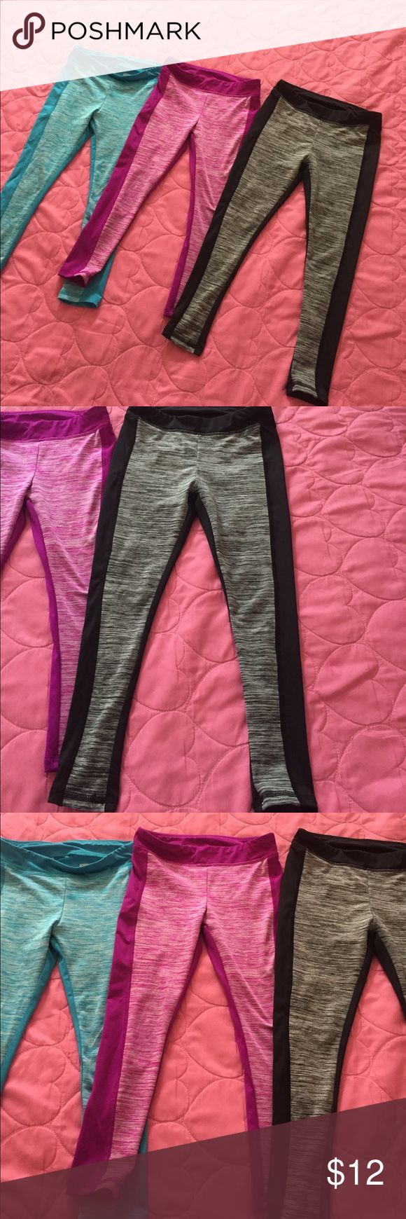 3 LITTLE GIRLS LAYER 8 LEGGINGS Used, but still in really good shape, no tears, rips, or stains, super light and comfortable. Colors, Black/Gray, Purple/Fuchsia, Blue LAYER 8 Bottoms Leggings