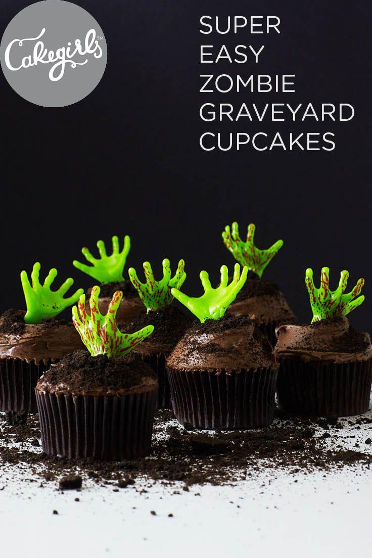 Store bought cupcakes + cookie crumbs + zombie novelty hands = Easiest Halloween Cupcakes Eva.  Shop Cakegirls