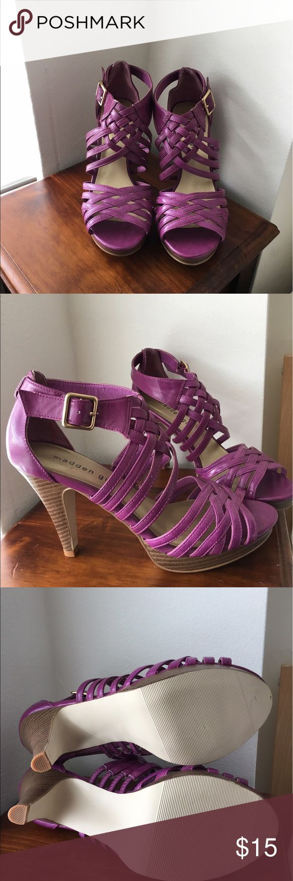 Lavender sandals shoes - Purple Fuschia Madden Girl Sandals Heel Is 3 75 And They Are Actually Really Comfortable