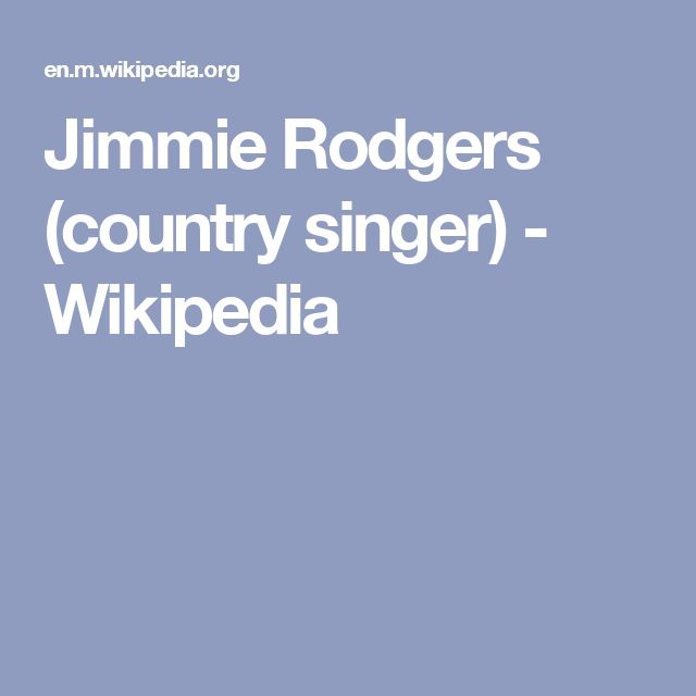 Jimmie Rodgers (country singer) - Wikipedia