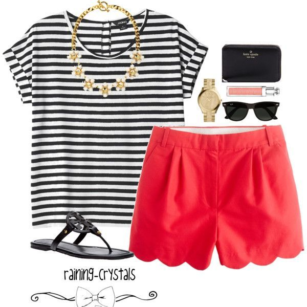 Stripped Shirt with Red Shorts