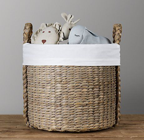 Love the idea of a toy basket (versus box) and this Seagrass Toy Basket from Restoration Hardware is perfect... but not for nearly 200 dollars!