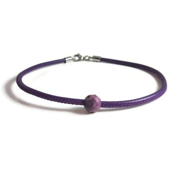 Purple Leather Anklet with Purple Boho Bead