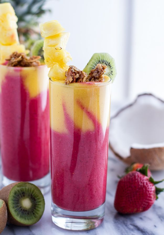 Tropical Fruit Breakfast Smoothie   Looking for some Healthy, Exciting and Delicious Breakfast? Check out our 11 favorite of Refreshing and Satisfying Smoothie Recipes!