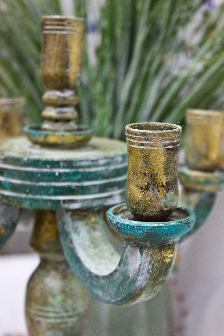 ......Мастерская Стейси......: Канделябр на пять свечей в винтажном стиле.