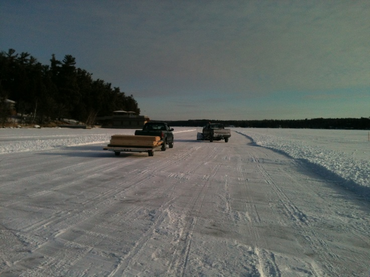YEP, an ice road and at the end of it; our site for training. For a Georgia boy, this was truly an adventure and the sad part-they were cutting the road in for us so we were the first to drive it and it was COLD. 27 below and we sprayed!!!