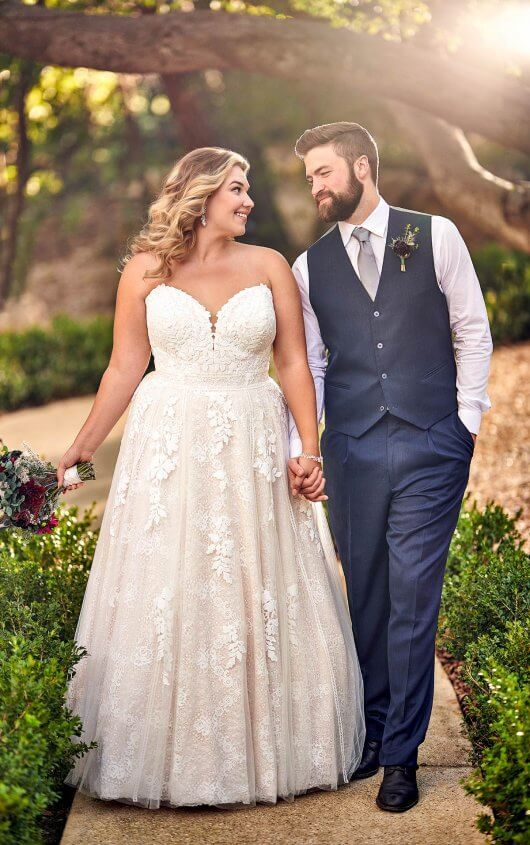 Strapless A-Line Wedding Dress with Cotton Lace - 17