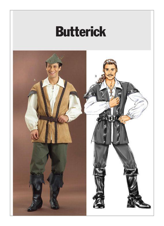 B4574 Men's Pirate Costume or Robin Hood, Historical Medieval costume, Cosplay #RenaissanceShirt #PirateShirtPattern #MoondancerCrafts #ButterickPattern #MakingHistory #HighlanderShirt #LaceFrontShirt #SewingPattern #pattern #RobinHoodCostume