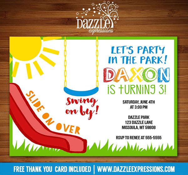 Printable Playground Birthday Invitation | Party in the Park Invitation | Slide, Swing | Kids Birthday Party Idea | FREE thank you card included | Matching printable party package available | Banner | Cupcake Toppers | Favor Tag | Food and Drink Labels | Signs |  Candy Bar Wrapper | www.dazzleexpressions.com
