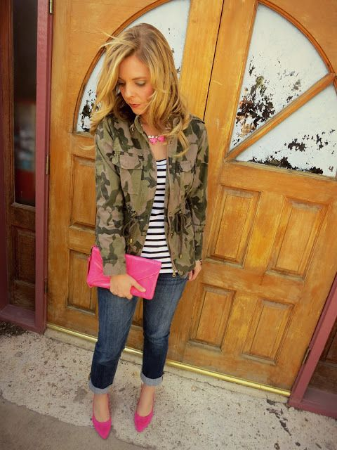 Camouflage utility jacket with pops of neon pink. Casual, but girly.      (I understand the camo, but those pink heels won't help crawling into the tree stand...)