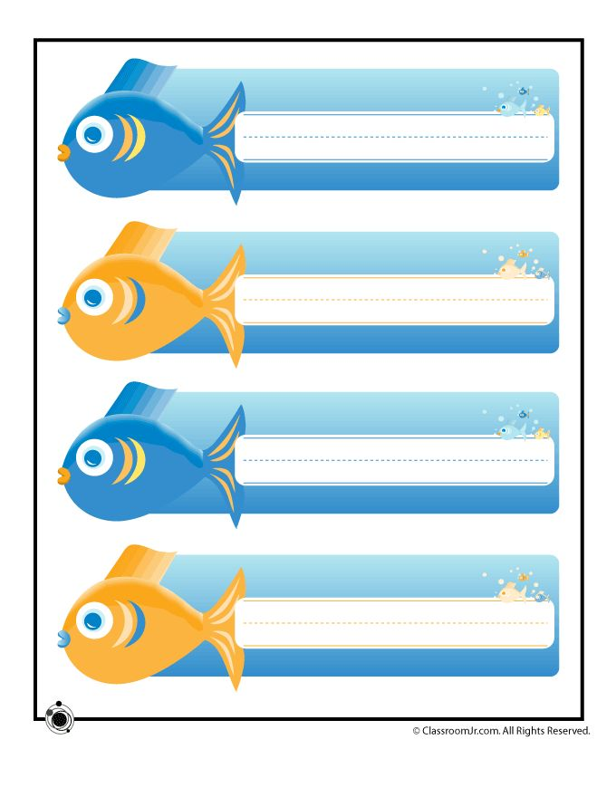 Printable Name Cards and Bulletin Board Decorations Printable Name Plates - Ocean Fish – Classroom Jr.