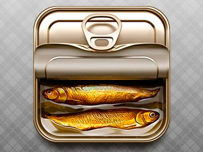 The metal look in this icon is really effective. The can appears to be shiny and metal and 3d. I enjoy that the designer was able to make it appear as if the lid was being folded backwards to reveal the fish.