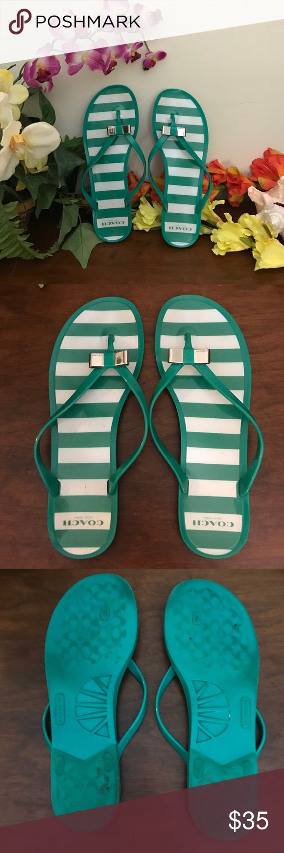 """Landon Jelly Coach Sandals⚡️ Excellent used condition coach flip flops. Size 9. Wear is seen on bottom but that can easily be washed. Runs slightly small. From the coach website"""" This chic little jelly thong has beach style wrapped up, with a pretty bow cast in gleaming polished metal. Vivid stripes add charm to the footbed."""" Made of PVC with a rubber bottom. Retails for 85$. Bundle for 30% off! Priced to sell quickly! Coach Shoes Sandals"""