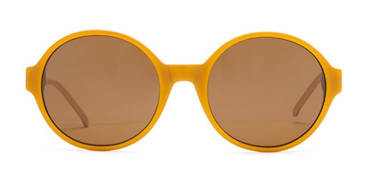 SHUT UP & KEEP TALKING I A large round shape with a modern flavour. Sunflower is a flattering retro inspired shade somewhere between orange and yellow. Complemented with a neutral biscuit beige reverse. Brown lens.