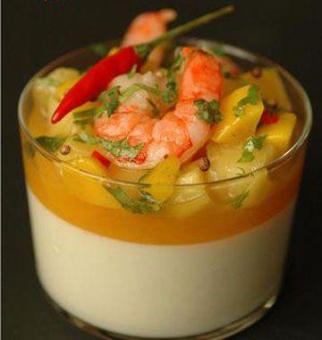 Panna cotta salée, lait de coco, fruits exotiques, épices et crevettes - Recettes de cuisine Ôdélices