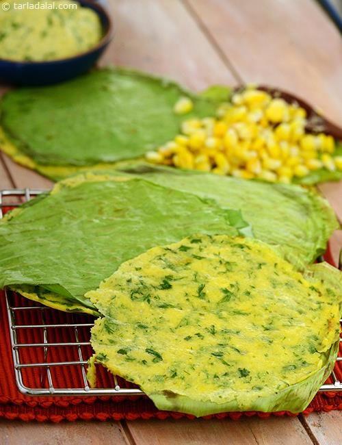 Corn and Coriander Pankim a wonderful snack to make when corn is in season.