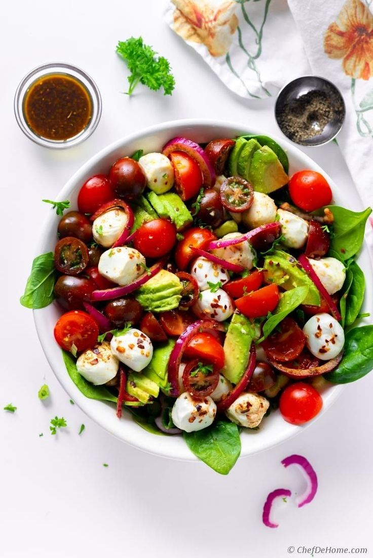 Delicious Avocado Tomato Mozzarella Salad. Assemble dressing up-to 3 months in a…