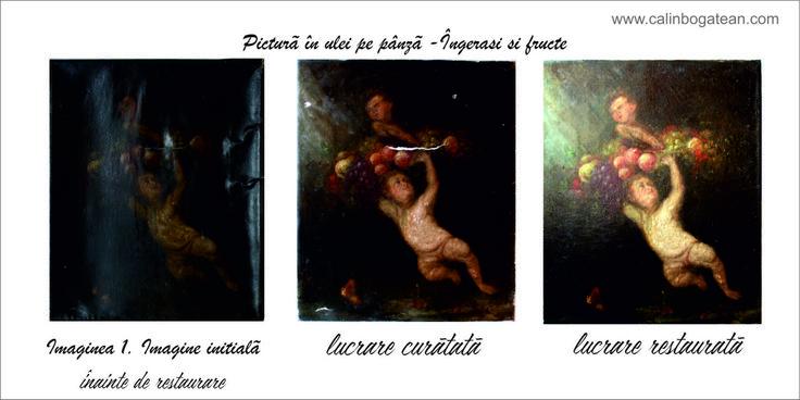 Ingerasi si fructe restaurare pictură în ulei pe pânză restaurare tablou restaurare lucrare de artă