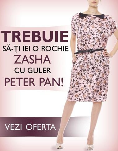 E cel mai cool detaliu de rochie, sezonul ăsta. Şi nu se putea să nu-l avem şi noi: GULERUL PETER PAN!    Îl găsiţi la rochiile Zasha, primul brand românesc prieten care vinde pe TinaR.ro, aici: http://www.tinar.ro/noi-branduri-pe-tinar.ro!/zasha.html?pret_desc=1.