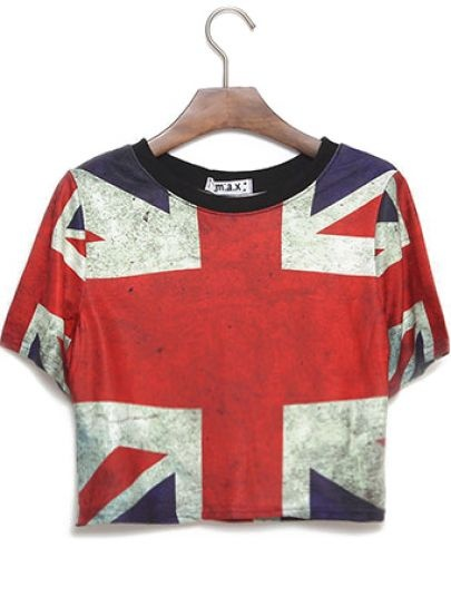 Blue Short Sleeve Union Jack Print Crop T-Shirt pictures