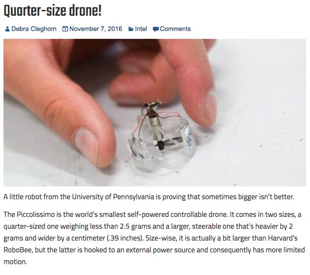 One bladed drone is slightly off center and spins 800 rps, body spins 40 rps in opposite direction. Control is by adjusting speed of blade. http://rotordronemag.com/quarter-size-drone/