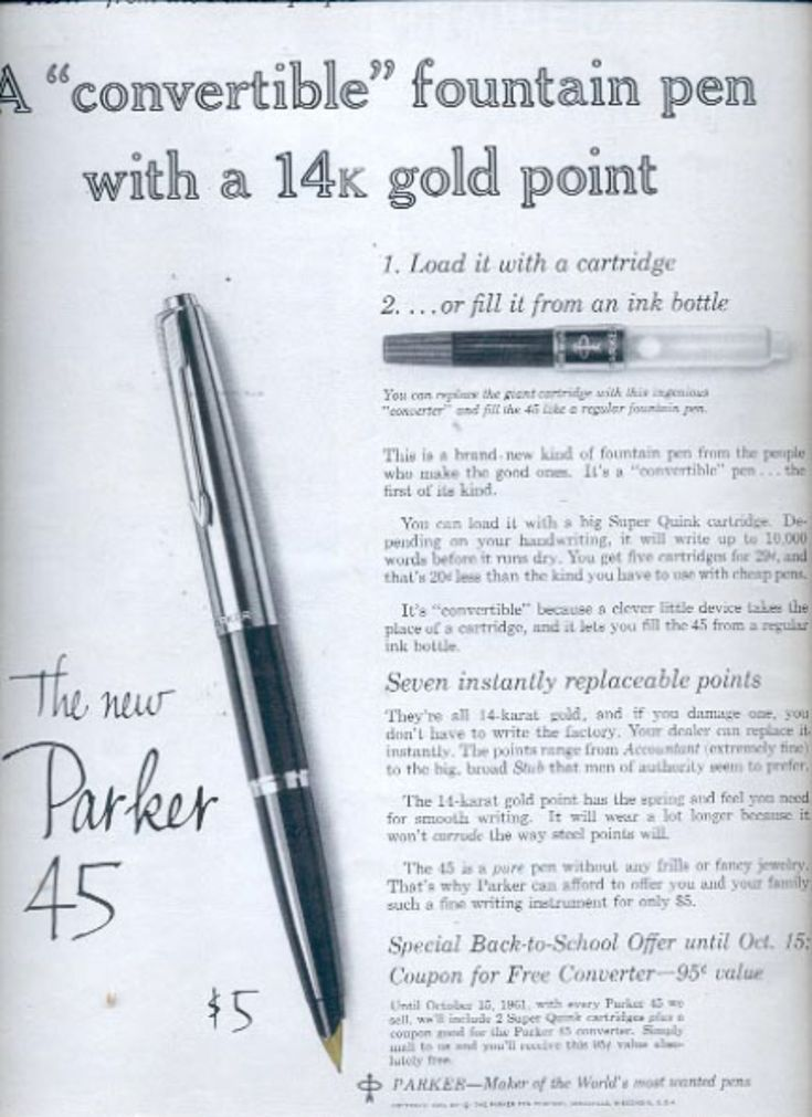 1961  Parker 45 fountain pen  ad (#5889)