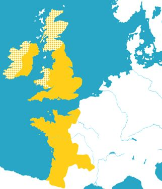"The term Angevin Empire is a modern term describing the collection of states once ruled by the Angevins of the House of Plantagenet. The Plantagenets ruled over an area stretching from the Pyrenees to Ireland during the 12th and early 13th centuries, located north of the kingdoms of Navarre and Aragon. This ""empire"", originally established by Henry Plantagenet as Count of Anjou and as Henry II, King of England, extended over roughly half of medieval France, all of England, and some of Ireland."